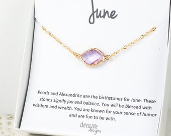 June Birthstone Gold Necklace, Light Amethyst Gold Necklace, Amethyst Necklace, June Birthstone Jewelry, June Birthday, Bridesmaid Jewelry