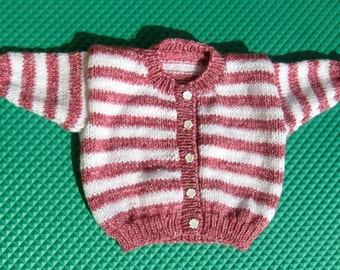 Hand Knitted White & Variegated Rose Striped Cardigan for Toddlers
