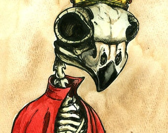 Owl Skull King (an original hand painted king)  ....when we pollute the water and use up the land..