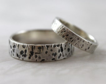 Handmade wedding rings, Matchinng wedding bands, Sterling silver ring set, rustic ring bands, couples rings, mens wedding ring, womens ring