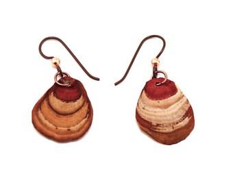 fungi earrings terra cotta and natural