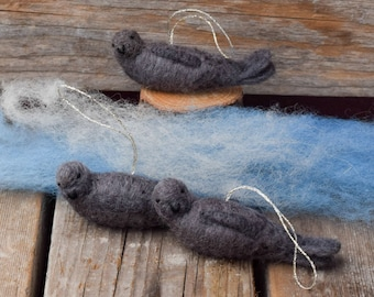 Harbor Seal - Needle Felted Nautical Christmas Ornament