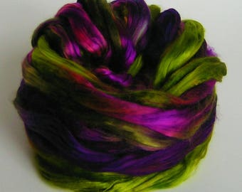 Silk Top Roving Sliver Fiber cultivated Mulberry FANTAGASM Phat Fiber Luxurious Supreme Quality Hand Painted for Handspinning 2 ounces