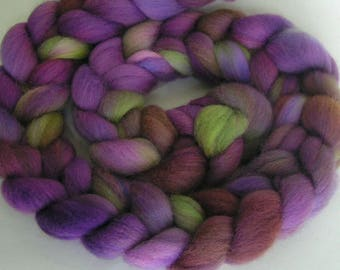 Roving Fiber Top Wool ELEANOR easy spin 4 oz COLUMBIA Phatfiber Feature March Gorgeous Spin Felt Craft Wine Gold Purple