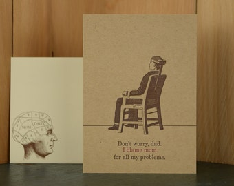 Blame Mom - letterpress Father's Day card