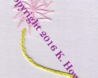 Pinwheel Flower Hand Embroidery Pattern, Flower, Pinwheel, Stem, Easy, Fast, PDF