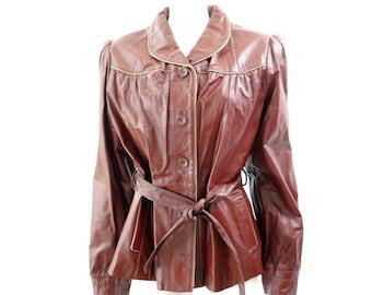 Vintage Womens Leather Jacket Berman's Leather Jacket // Oxblood Jacket// Hippie Boho Jacket// Cute Classic Leather Jacket// Size S to M