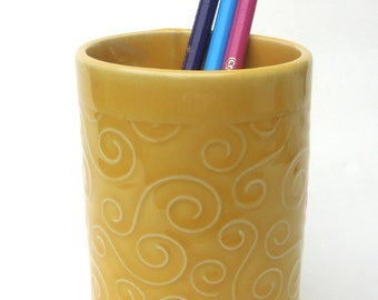 Yellow Textured Whimsical Swirl Handmade Ceramic Pottery Pencil Holder Cup Vase