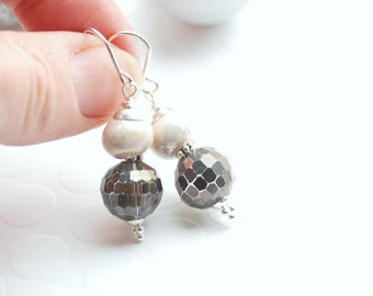 Charcoal Grey and White Earrings, Smoky Grey, Elegant Earrings, Disco Ball Earrings, Party Earrings, Neutral Earrings, Sparkly Earrings
