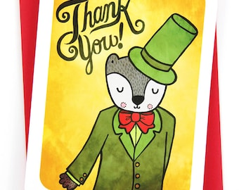 Thank You Card Fancy Badger - Thanks Card Badger Birthday Gratitude Card thank you for gift Wedding Thank you Shower Thank you card