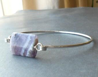 Silver Gemstone Bracelet, Amethyst Sterling Silver Wire Bangle Bracelet, Hammered Bangle