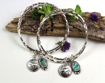 Made to Order Moose & Turquoise Charm Sterling Silver Bangle Bracelet, rustic, artisan, metalwork, handmade