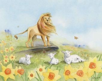 Lion and Lamb Art Print - Lion and Lamb wall art - Lion Art Print - Lion Christian Art