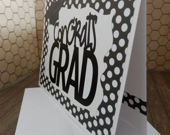 Graduation Greeting Congrats Grad Black and White Polka Dot