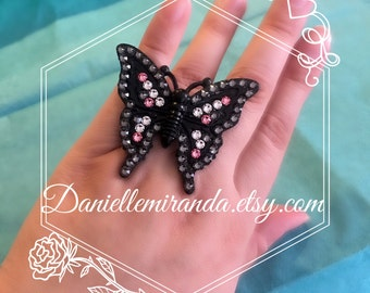 My Love is Free as a Butterfly Sparkle Kawaii Adjustable Ring