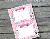 Pink Fire Truck 5x7 Thank you card - Girls - Dalmatian - NONPERSONALIZED - INSTANT DOWNLOAD