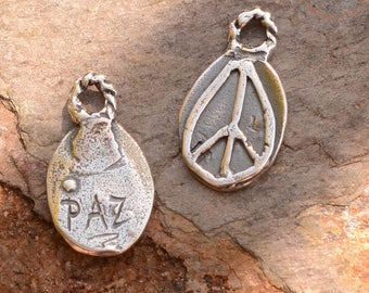 Paz Peace Charm in Sterling Silver, Peace Symbol on Solid Background, CH-658