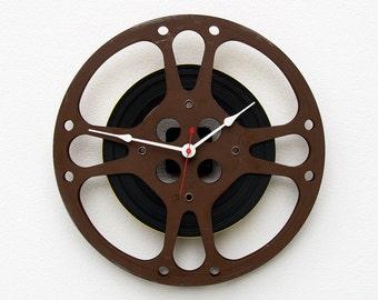 Unique Wall Clock, 16 mm Film Reel Wall Clock, Movie Lover Clock, Filmmaker Gift, Theater Decor, Photographer gift,  Steampunk Wall Clock