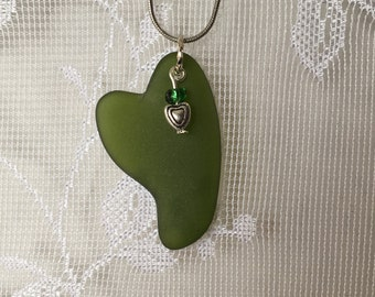 Heart shaped dark green beachglass pendant with freshwater pearl, seaglass inspired vintage glass.  sea glass heart necklace.