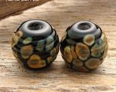 RAKU BARRELS - Handmade Lampwork Beads - Earring Pair - 2 Beads