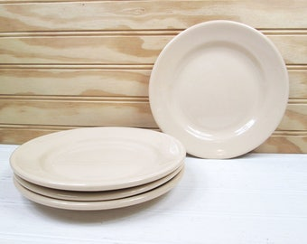 4 Vintage Homer Laughlin Restaurant Ware Bread Plates Set Best China Beige Lot USA