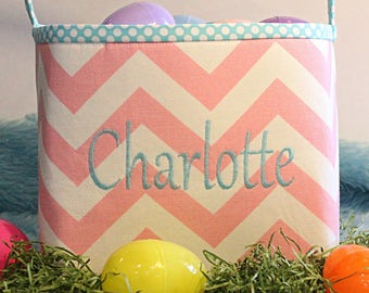 Custom EASTER Baskets---Personalized--- MANY Fabrics to Choose From--- Kids Easter Basket
