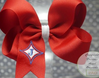 Embroidered Boutique Hairbow. Custom embroidered with your logo.  Contact us before purchase for quote on digitizing your logo.