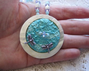 Blue Necklace, Dragonfly Necklace, Chalcedony Necklace, Statement Necklace Women, Gemstone Necklace, One of a Kind, Gift, Mother, Sister