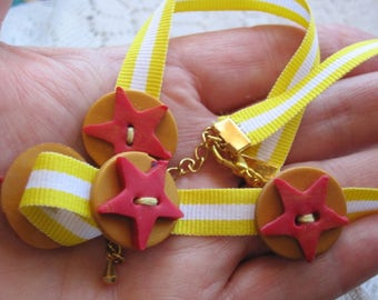 Polymer Choker, Ribbon Choker, Yellow Choker, Star Necklace, Summer Jewelry, Adjustable Choker, OOAK, Handmade Jewellery, Gift for Sister,