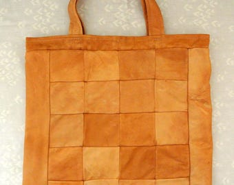 Small unusual highquality new/unused tote shopping hand bag made of soft genuin natural tan rein deer skin/leather