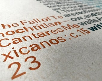 Letterpress Poster of the Fall of Tenochtitlan Poem
