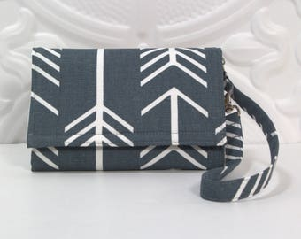 Cell Phone Wallet Wristlet, Smartphone Wallet, Crossbody Ready, iPhone 7 6s Plus Wristlet, Samsung Galaxy, Lg, Nexus / Slate Gray Arrows