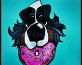 bernese mountain dog donut worry be happy sprinkles love mothers day decor  bmd 10x10 maggie brudos painting Original whimsical DOG art