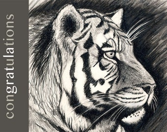 Tiger Congratulations Greeting Card 5 x 7 inches