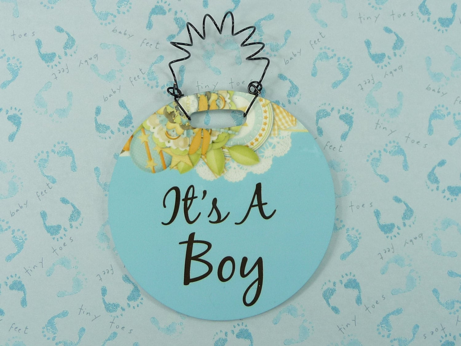 ITS A BOY Tiny Sign Blue Gender Reveal Wreath Decor Baby Shower Gift ...