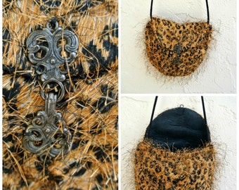 Unique Purse Fabric Evening Bag Small Womens Handbag Over the Shoulder Gift for Her under 50 Leopard Print