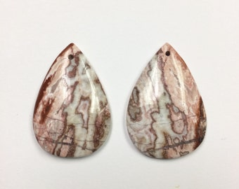 Pair Crazy Lace Agate teardrop pendant beads - pink brown cream