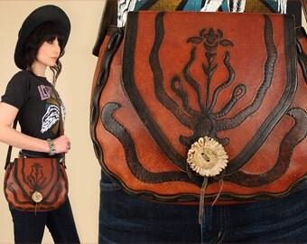 ViNtAgE 70's Hand Tooled Chunky LEATHER Handbag RARE Snake Motif Serpent Antler Clasp Floral Desert Bloom Purse 60's Artisan Hippie BoHo