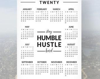 "SALE! Calendar   Stay Humble Hustle Hard   2017 Year At-A-Glance   11"" x 14"""
