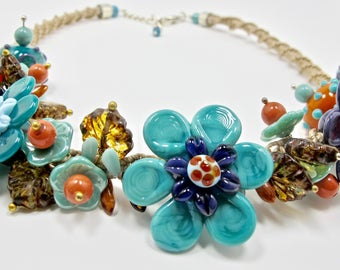 teal bright lamp work necklace, macrame jewelry, colorful flower necklace, mothers day necklace, lamp work flower jewelry, gift for mom
