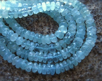 AAA Natural Aquamarine Faceted Rondelles - 7mm X 3mm - 6 3/4 inch strand