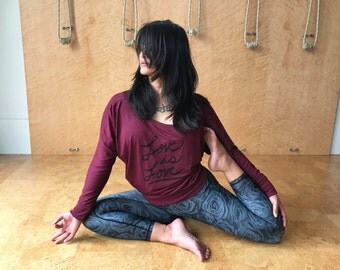 "Yoga Shirt ""Love is Love"" Equality- Women's Flowy Long Sleeve MADE TO ORDER"