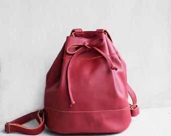 SALE Leather Drawstring Backpack in Cranberry Red/ Red Bag /Leather Backpack/Leather Bag/Drawstring Bag/Bucket Bag /Red Backpack