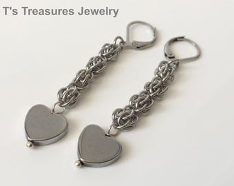 Sweet Hearts - Chainmaille and Hematite Heart Earrings