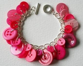 Button Bracelet Bright Shocking Pink