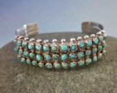 Vintage Zuni Silver and Turquoise Bracelet petit point snake eyes cuff bracelet