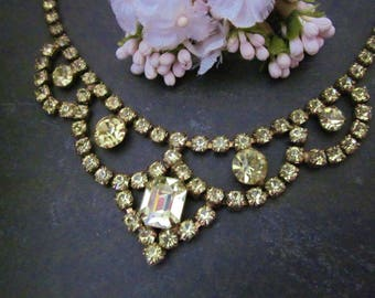 Vintage Yellow Rhinestone Necklace / Bridal Necklace prom necklace