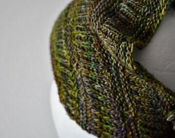Moon Scarflette Hand Knit Mini-Scarf in Soft Wool. Headwrap, Mini Neckerchief, Button Cowl, Boho, Ready to Ship in Oilslick /Rainbow