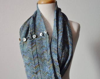 May Sale - 20% off Button Up Chevron Scarf/Cowl - Hand Knit In Soft Blue Merino Wool With Gold Tones, Purples, Darker Blue. Shell Buttons -