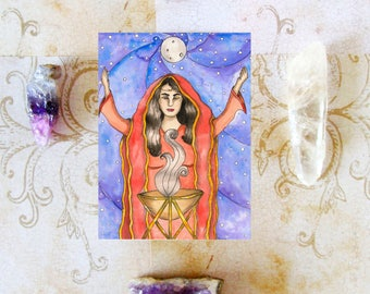 Pagan Art Print Oracle Priestess Prayer Card Goddess Art Print Fantasy Art Mystical Art Divine Feminine Sacred Spiritual Occult Mythology